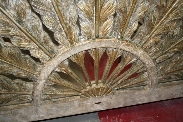Prince of Wales Feather Carved Parcel Gilt & Mirrored Headboard 5