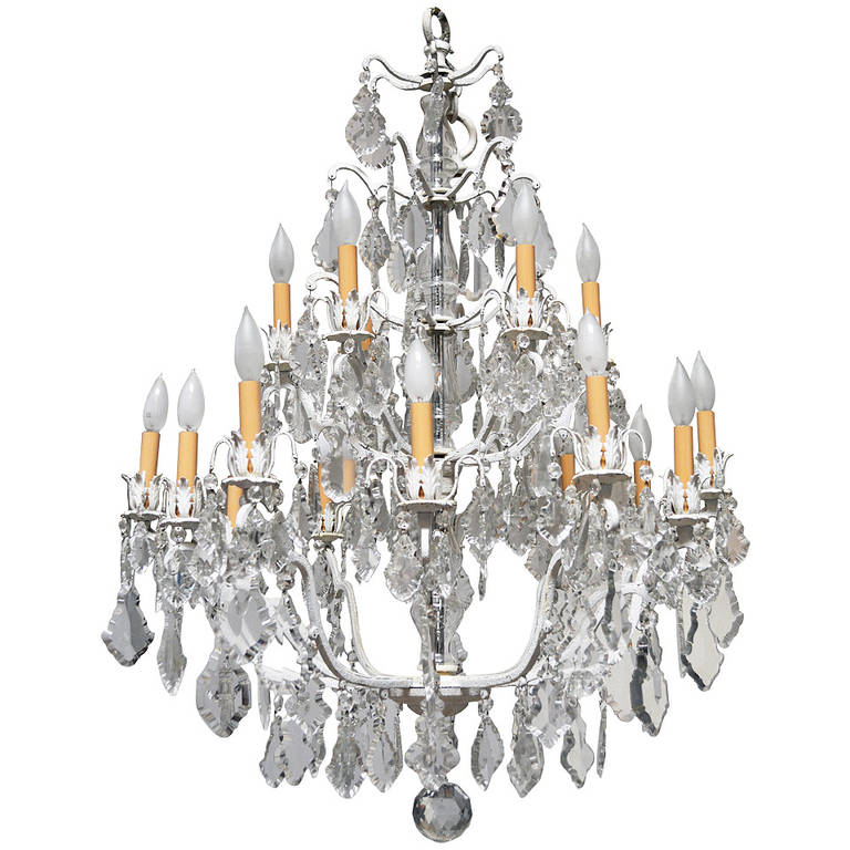 Unique Crystal Chandelier on a White Painted Frame For