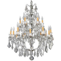 Unique Crystal Chandelier on a White Painted Frame
