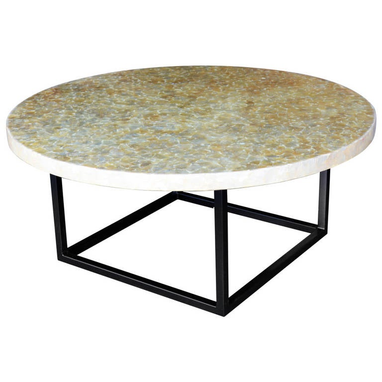 Round White Capiz Coffee Table: Vintage Capiz Shell Coffee Table Top At 1stdibs