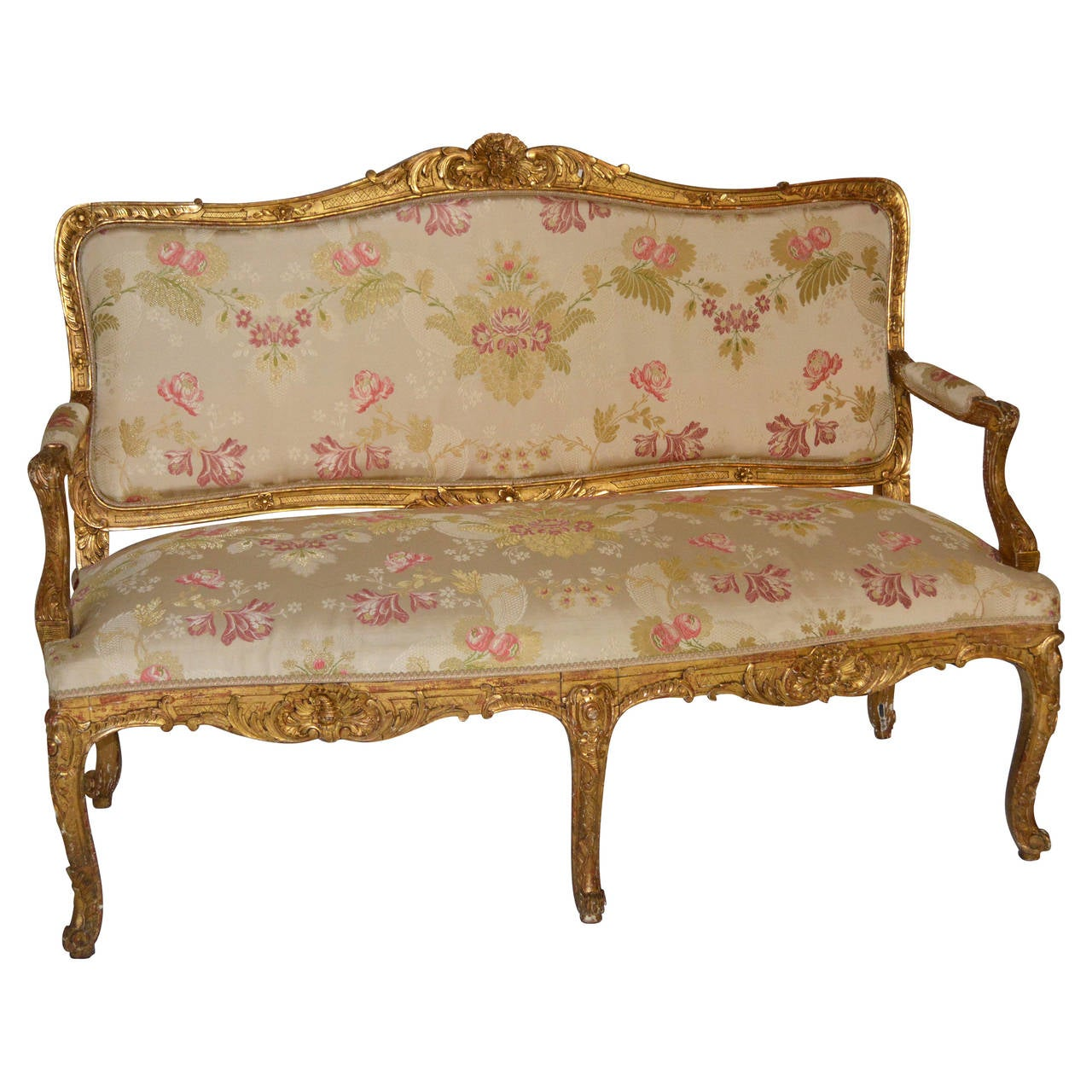 Louis XV Style Giltwood Antique Settee, 19th Century