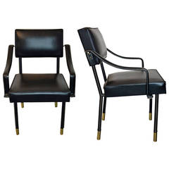 Pair of Jacques Adnet Armchairs