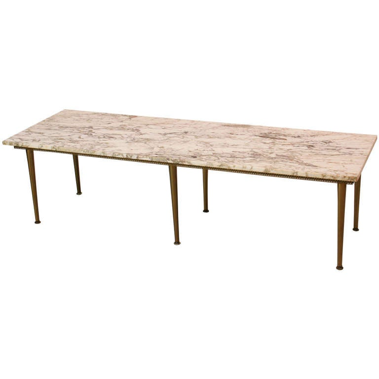 1950's Italian Marble And Brass Coffee Table At 1stdibs