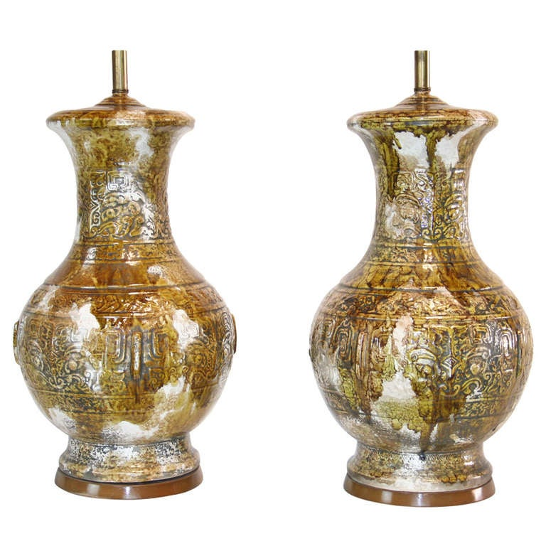 Pair of Monumental Drip Glaze Ceramic Lamps