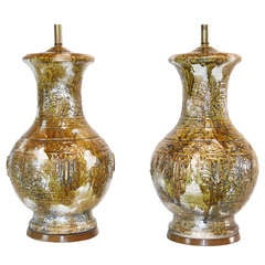 Pair of Monumental Drip Glaze Ceramic Lamps