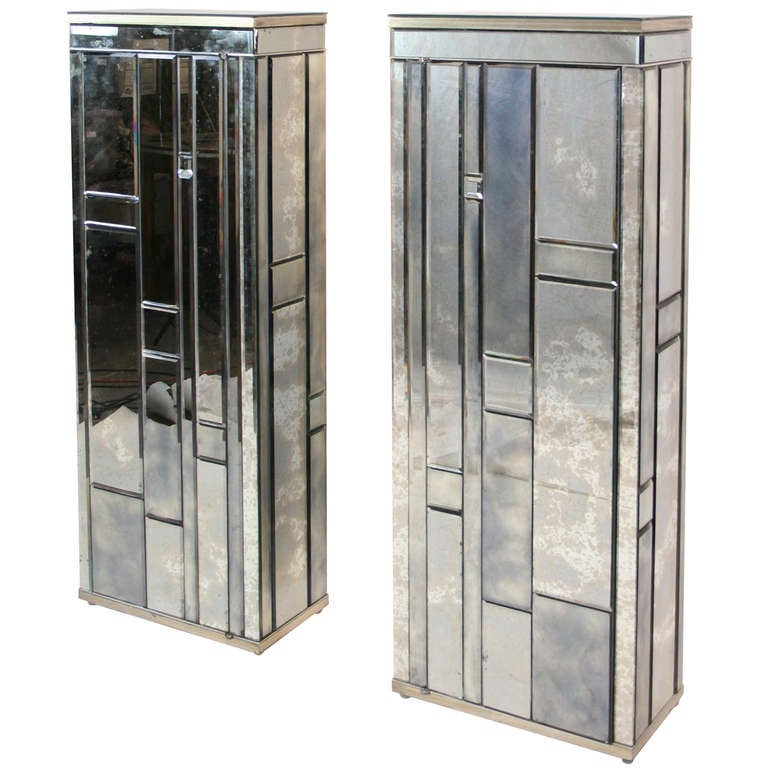 pair of beveled mirror side cabinets for sale at 1stdibs