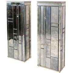 Pair of Beveled Mirror Side Cabinets