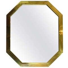 Mid-century Italian Octagonal Brass Mirror
