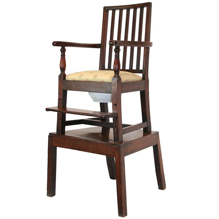 18th Century Mahogany Convertible Child's High Chair For Sale