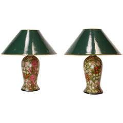 Pair of 19th Century English Papier Mache Lamps