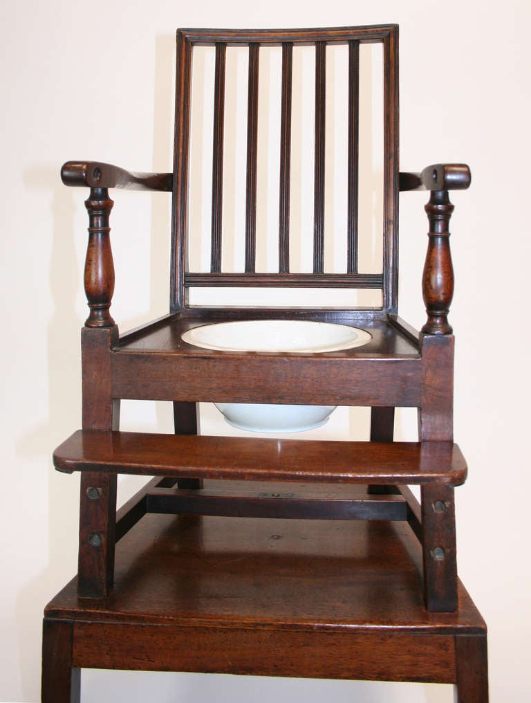 British 18th Century Mahogany Convertible Child's High Chair For Sale
