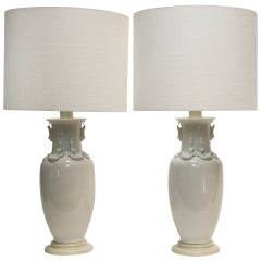 Exceptional Pair of Blanc de Chine Lamps