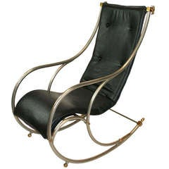 Jansen Style Steel and Brass Campaign Rocking Chair