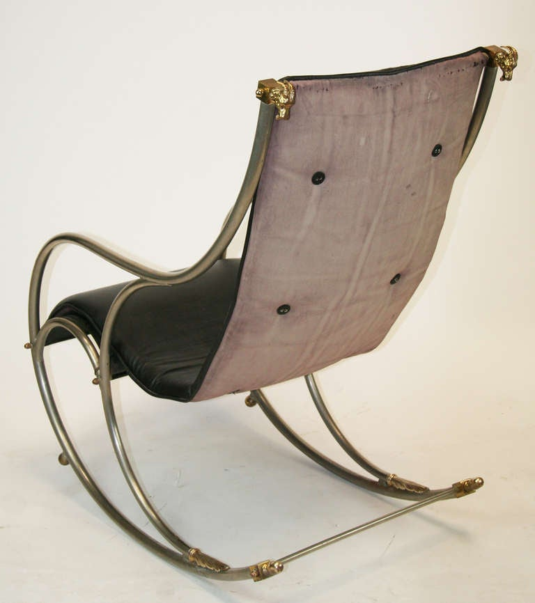 Italian Jansen Style Steel And Brass Campaign Rocking Chair For Sale