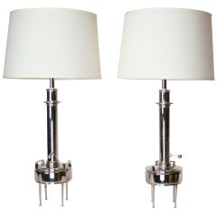 Pair of Nickel Plated 1950's Lamps