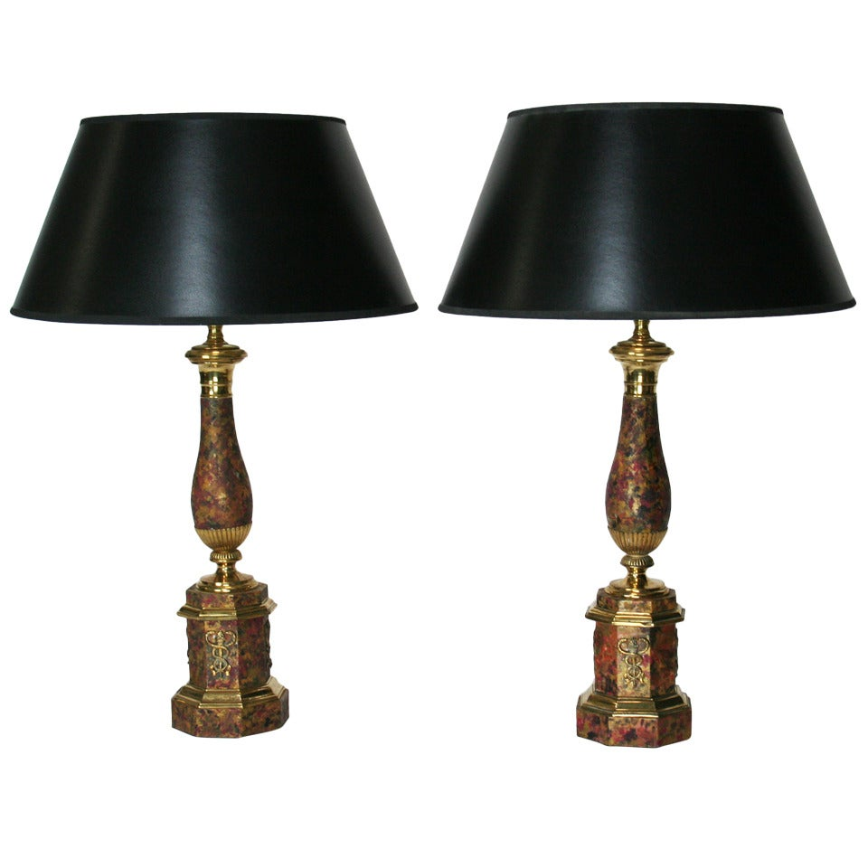 Pair of 19th C. French Faux Marble Tole Lamps
