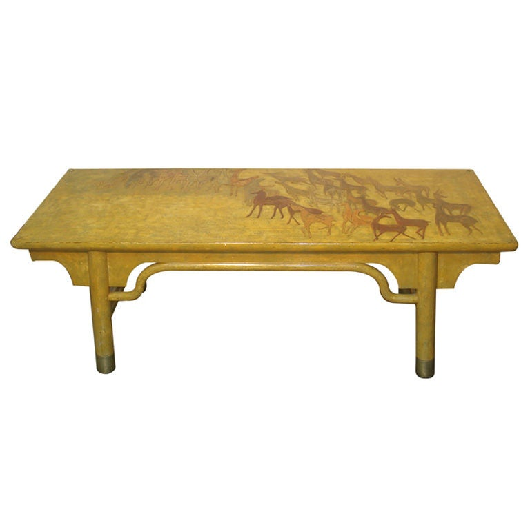 Mid Century Modern Japanese Lacquered Coffee Table For Sale