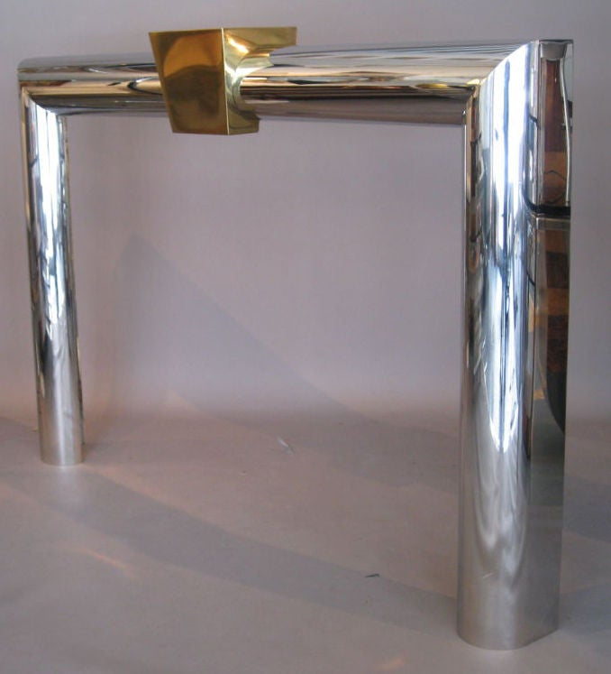 Stainless Steel And Brass Fireplace Surround At 1stdibs