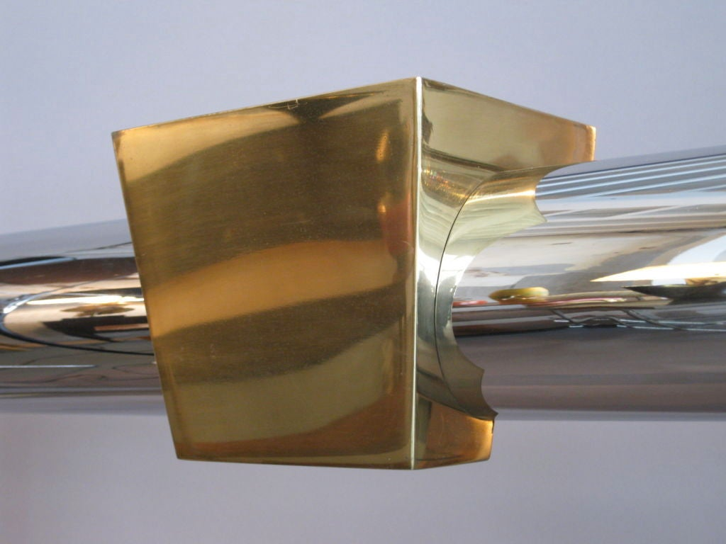 Stainless Steel and Brass Fireplace Surround In Good Condition For Sale In Palm Springs, CA