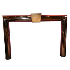 Stainless Steel and Brass Fireplace Surround