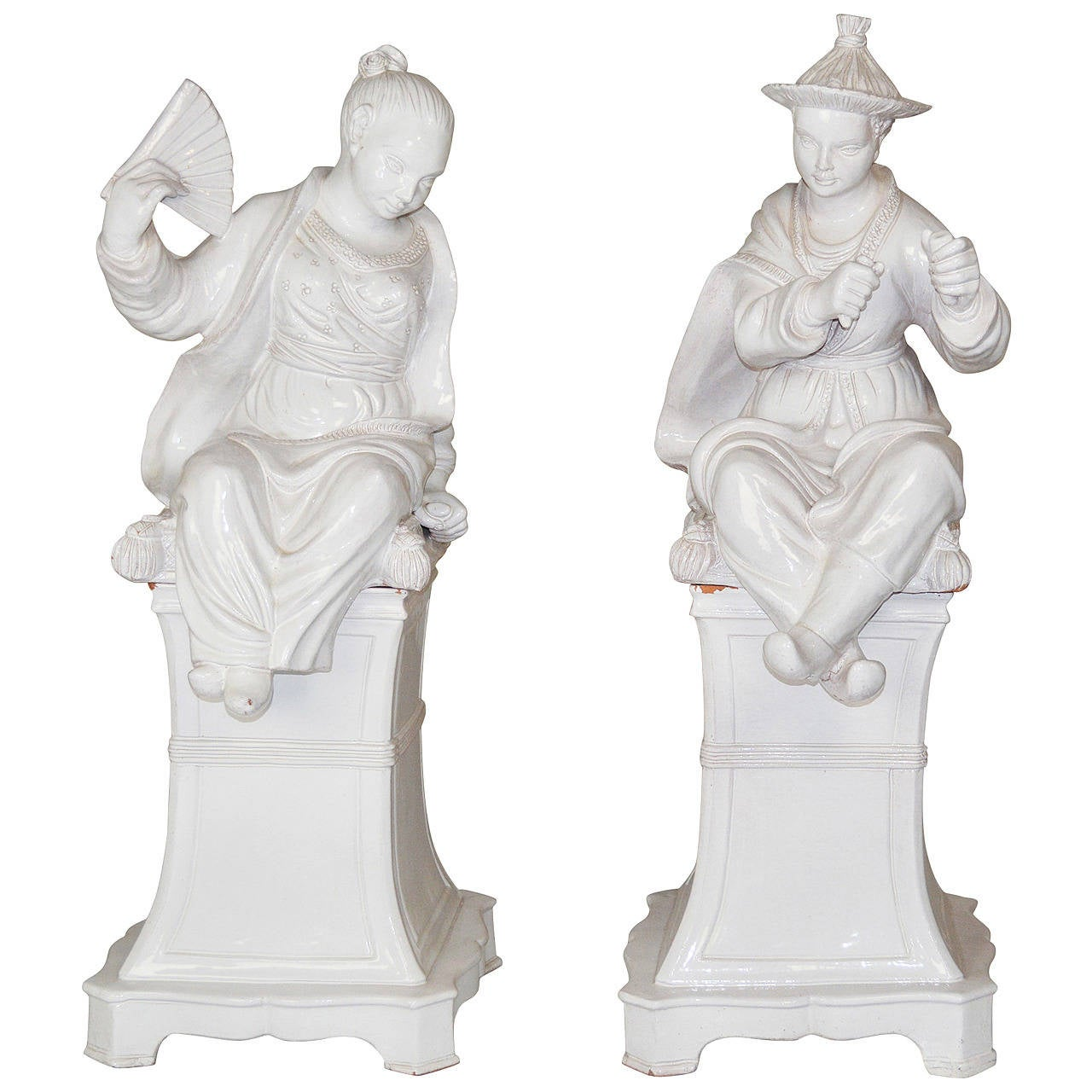 Pair of Large Italian Faience Glazed Chinese Figures on Pedestals