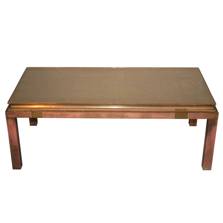 French Bronze Cocktail Table with Brass Accents and Mirrored Top