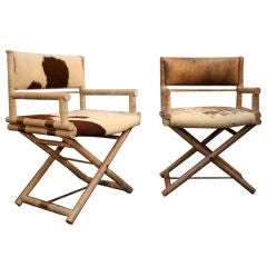 Pair of Faux Bamboo and Brass Directors Chairs