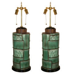 Pair of Modernist Swiss Ceramic Lamps
