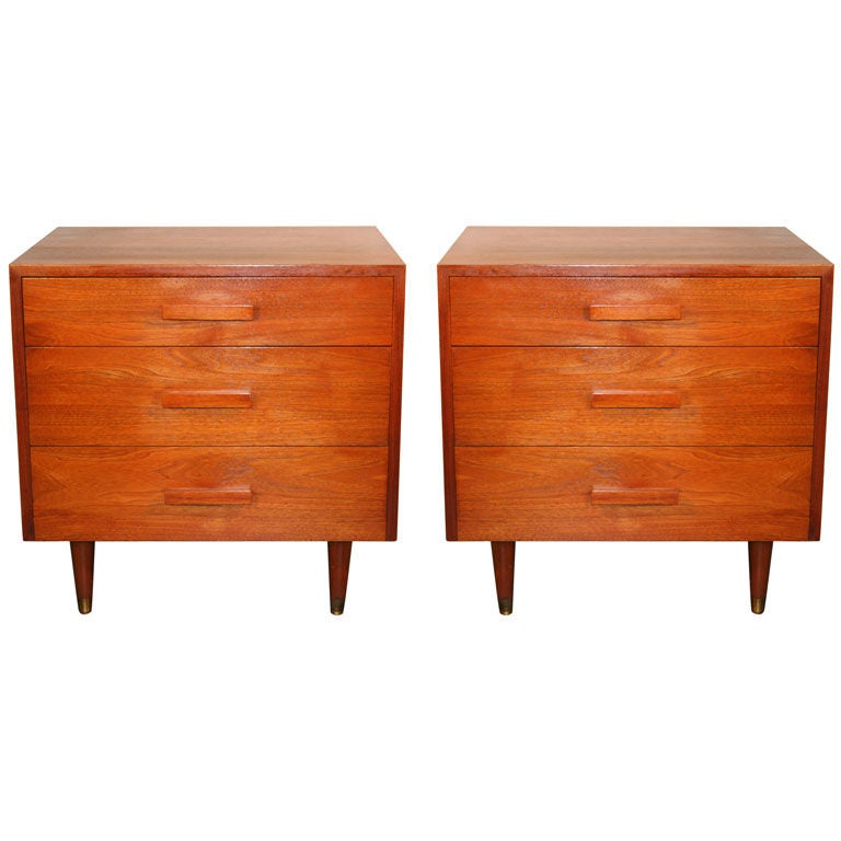 Pair of mid century modern walnut three drawer nightstands for Modern nightstands for sale