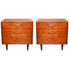 Pair of Mid-Century Modern Walnut Three Drawer Nightstands