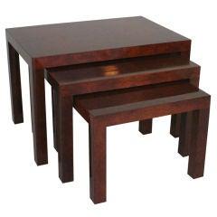 Milo Baughman Mid-Century Modern Burl Nesting Tables