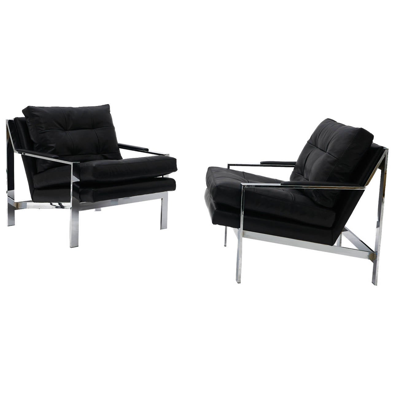 pair of black leather and chrome lounge chairs at 1stdibs. Black Bedroom Furniture Sets. Home Design Ideas