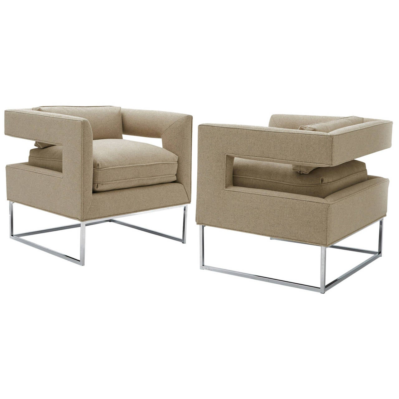 Milo Baughman, Cut-Out Lounge Chairs For Sale