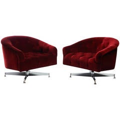 Pair of Ward Bennett Tufted Lounge Chairs