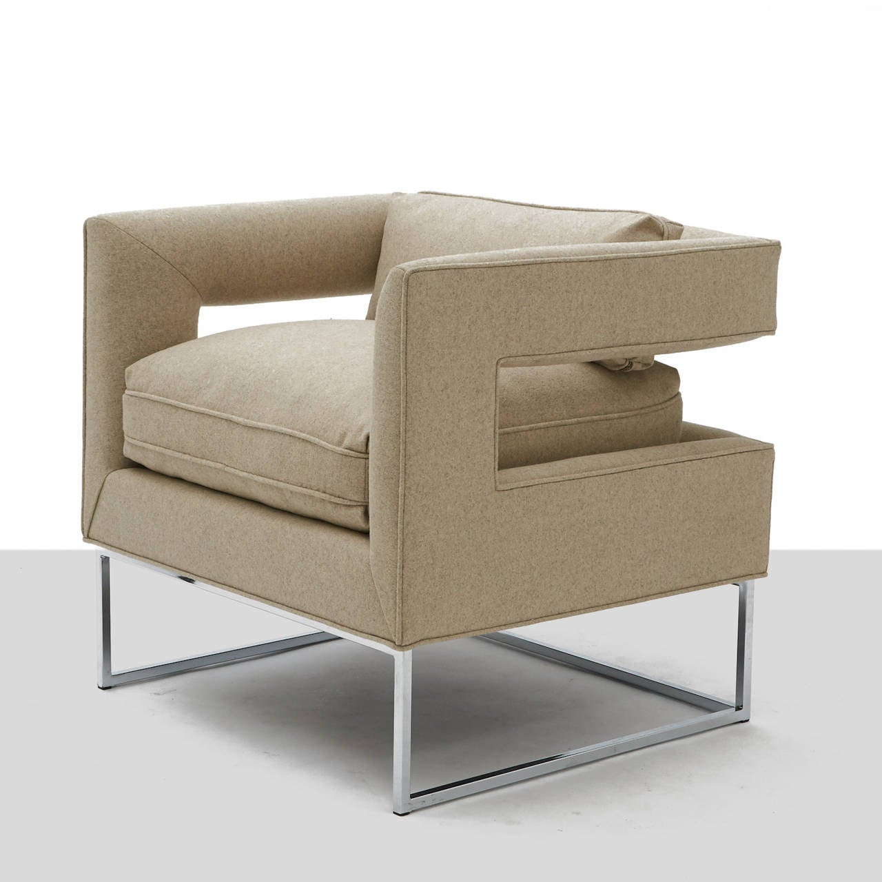 Mid-Century Modern Milo Baughman, Cut-Out Lounge Chairs For Sale