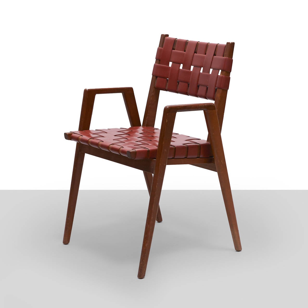 Jens Risom Attributed Early Webbed Dining Chairs Set Of