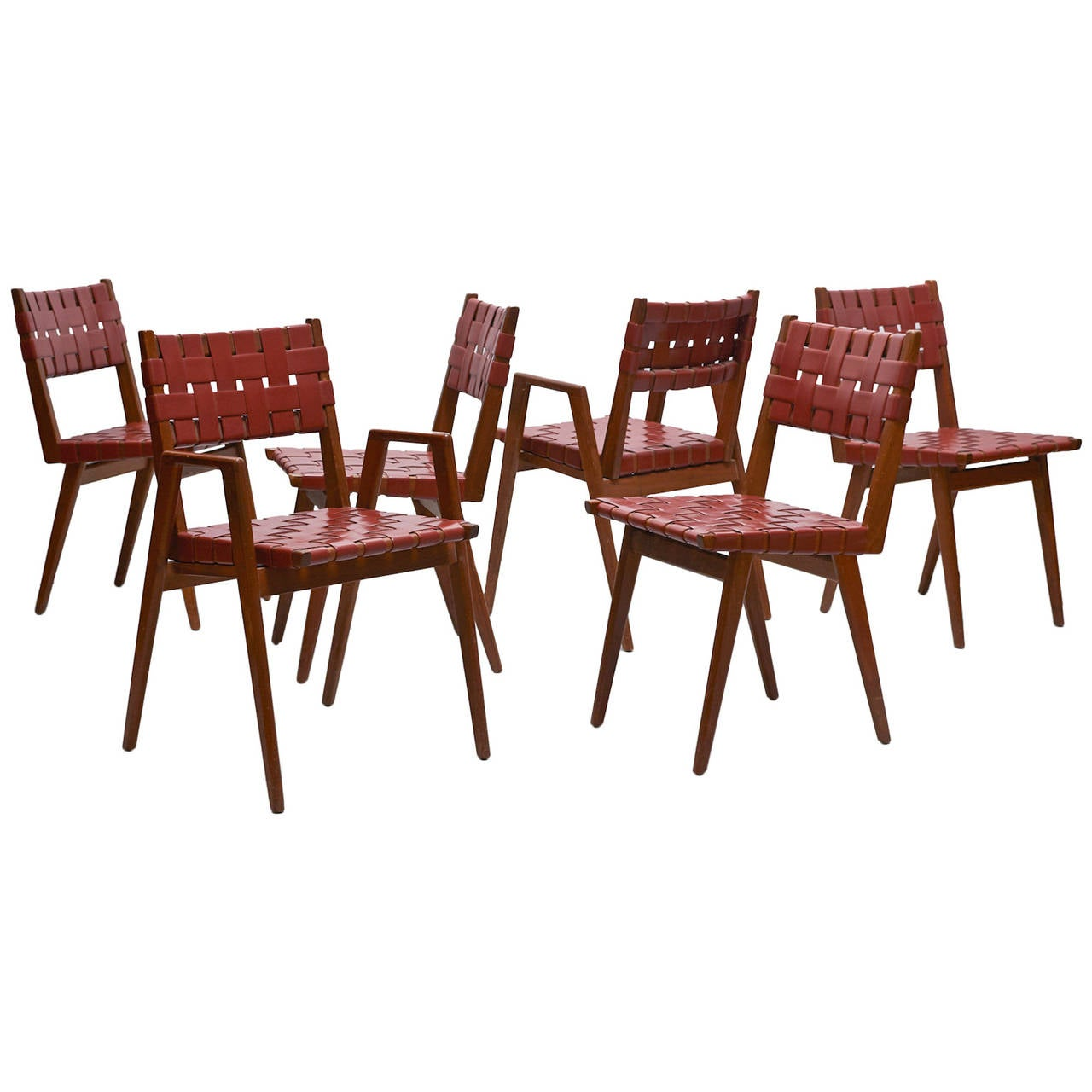 Jens risom attributed early webbed dining chairs set of six for sale at 1stdibs - Jens risom dining chairs ...
