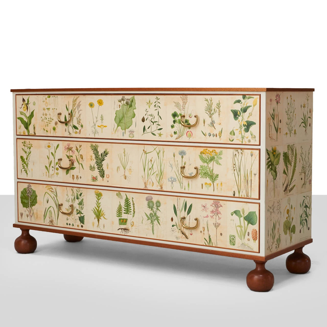 """A rare and important chest from the """"Flora"""" Series. Mahogany frame with illustrations from the book """"Nordens Flora"""" by C.A.M. Lindman. Brass handles. Model #1050 Literature : Josef Frank/Inspiration 1994. P. 32"""