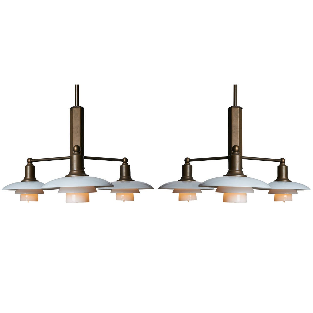 Poul Henningsen Pair of Limited Edition Three-Arm Chandeliers For Sale