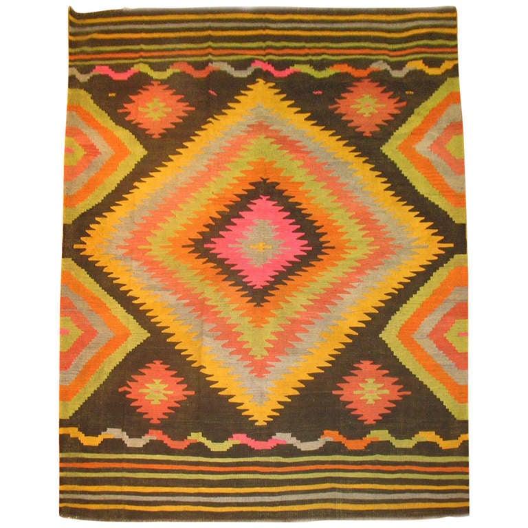 Vintage Turkish Kilim Flat-Weave Room Size Rug For Sale