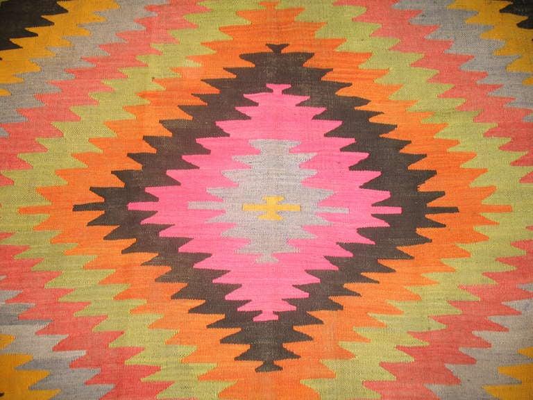 A dazzling Mid-Century Turkish Kilim flat-weave.
