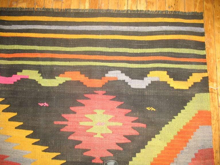 Hand-Knotted Vintage Turkish Kilim Flat-Weave Room Size Rug For Sale