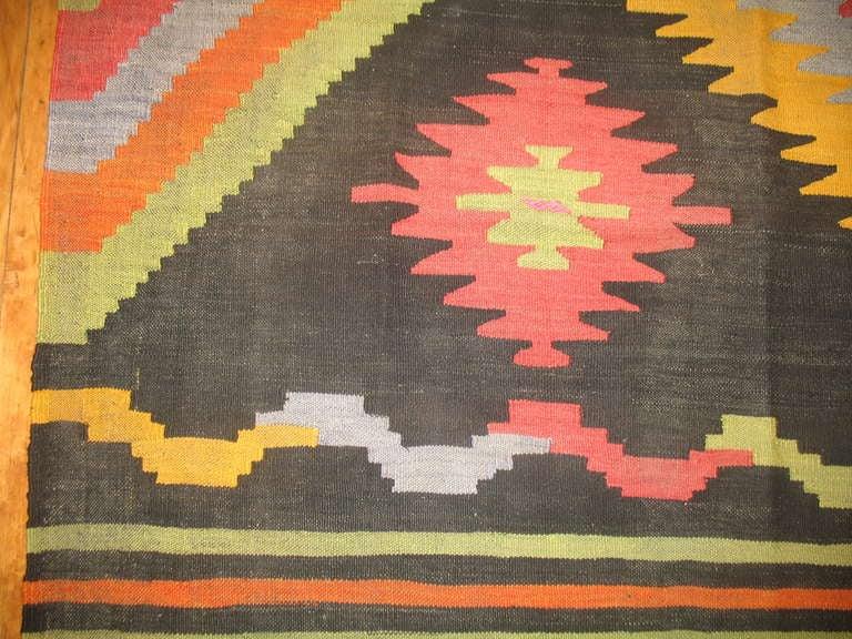 Wool Vintage Turkish Kilim Flat-Weave Room Size Rug For Sale