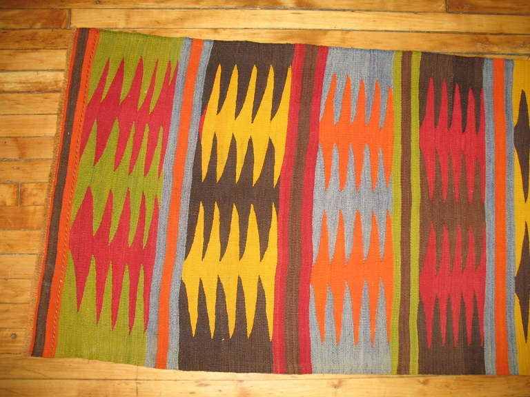 Vintage Turkish Kilim Runner 5