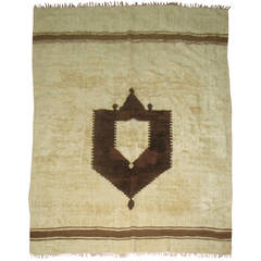 Vintage Ivory and Brown Turkish Mohair Rug