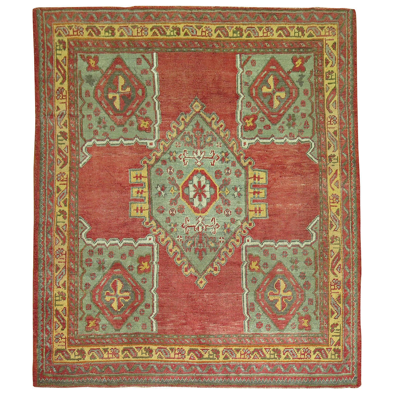 Antique Turkish Medallion Oushak Rug At 1stdibs