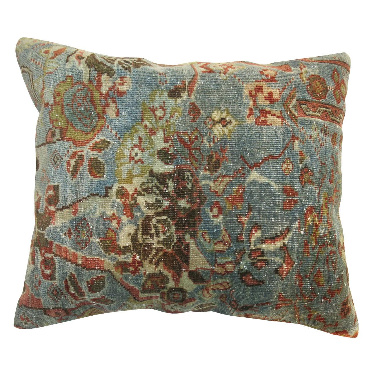 Aqua Blue Persian Sultanabad Pillow At 1stdibs