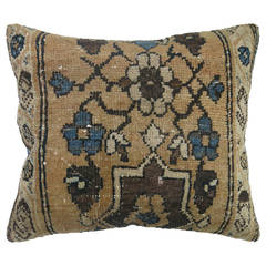 Vintage Persian Rug Pillow with Blue Backing