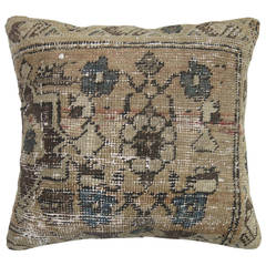 Vintage Persian Rug Pillow with Emerald Green Backing