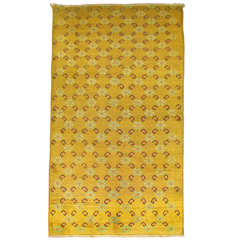 Vintage Turkish Yellow Anatolian Rug